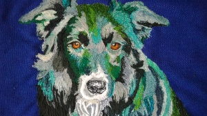 Earlier in the year i was commissioned to stitch a quartet of water-loving border collies, Erin and Max, here, are two of them
